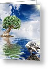 Tree Seagull And Sea Greeting Card