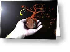 Treeclock Greeting Card by Racquel Delos Santos