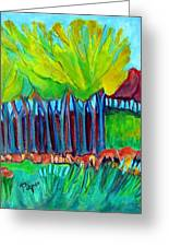 Trees And Meadow Greeting Card