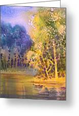 Trees And Water Greeting Card