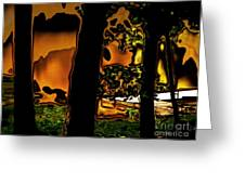 Melted Sunset Abstract Greeting Card