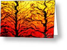 Trees Dancing At Sunset Greeting Card by Lorraine Heath