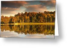 Trees Lining The Waters Edge Reflected Greeting Card