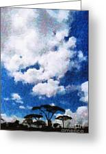 Trees Under Blue Cloudy Sky Painting Greeting Card