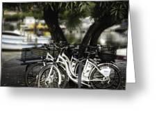 Tres Bikes Greeting Card