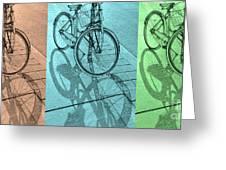 Tri-coloured Bicycle Print Greeting Card