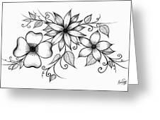 Tri-floral Sketch Greeting Card