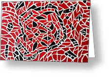 Tribal On Canvas - Black And Red Greeting Card