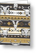 Tribal Seamless Pattern With Skulls Of Greeting Card