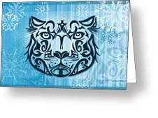Tribal Tattoo Design Illustration Poster Of Snow Leopard Greeting Card