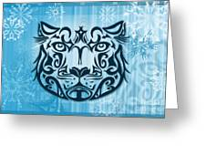 Tribal Tattoo Design Illustration Poster Of Snow Leopard Greeting Card by Sassan Filsoof