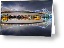 Triboro Bridge Panorama At Night Greeting Card