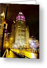 Tribune Tower On A Rainy Night Greeting Card