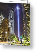 Tribute In Light And Freedom Tower Greeting Card