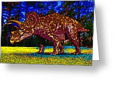 Triceratops Painting Greeting Card