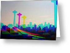 Tricolor Seattle Space Needle Greeting Card