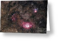 Trifid And Lagoon Nebulae Greeting Card
