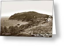 Trinidad Memorial Lighthouse And Fog Bell With Trinidad Head Circa 1948 Greeting Card