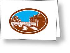 Trinity College Bridge Cambridge Woodcut Greeting Card