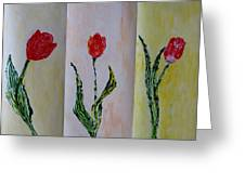 Trio Of  Red Tulips Greeting Card