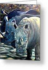 Trio Of Rhino Greeting Card