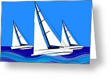 Trio Of Sailboats Greeting Card