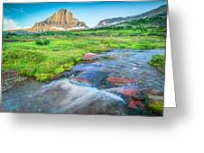 Triple Falls Stream Glacier National Park Greeting Card