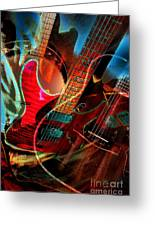 Triple Header Digital Banjo And Guitar Art By Steven Langston Greeting Card by Steven Lebron Langston