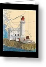 Triple Islands Lighthouse Bc Canada Chart Art Greeting Card