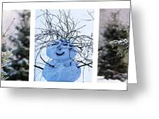 Triptych - Christmas Trees And Snowman - Featured 3 Greeting Card