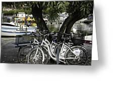 Trois Bikes Greeting Card