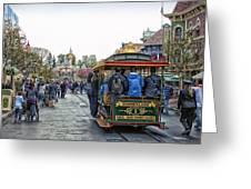 Trolley Car Main Street Disneyland 01 Greeting Card