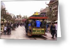 Trolley Car Main Street Disneyland 02 Greeting Card