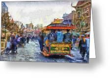 Trolley Car Main Street Disneyland Photo Art 02 Greeting Card