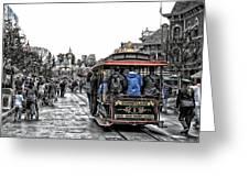 Trolley Car Main Street Disneyland Sc Greeting Card