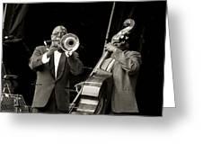 Trombone And Bass Greeting Card by Tony Reddington