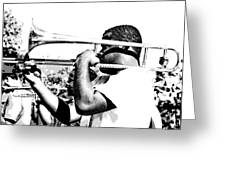Trombone Man Bw Greeting Card