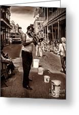 Trombone Man On Royal St. New Orleans Greeting Card