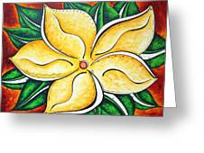 Tropical Abstract Pop Art Original Plumeria Flower Painting Pop Art Tropical Passion By Madart Greeting Card