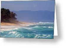 Tropical Beach Oahu Hawaii Greeting Card