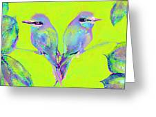 Tropical Birds Blue And Chartreuse Greeting Card