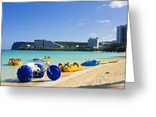 Tropical Fun At The Beach In Tumon Bay Guam Greeting Card