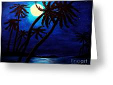 Tropical Moon On The Islands Greeting Card