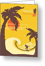 Tropical Paradise With Palms Island And Greeting Card