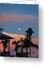 Tropical Sunset With The Moon Rise Greeting Card