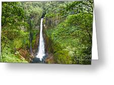 Tropical Waterfall In Volcanic Crater Greeting Card