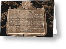 Troup Factory Historical Marker Greeting Card