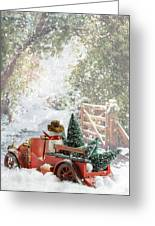 Truck Carrying Christmas Trees Greeting Card