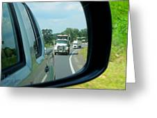 Trucks In Rear View Mirror Greeting Card