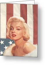 True Blue Marilyn In Flag Greeting Card
